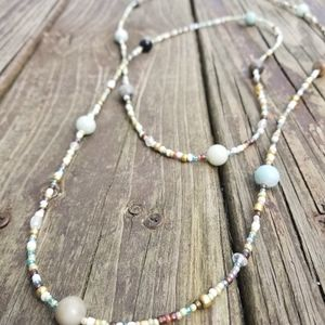 Handemade beaded wrap necklace